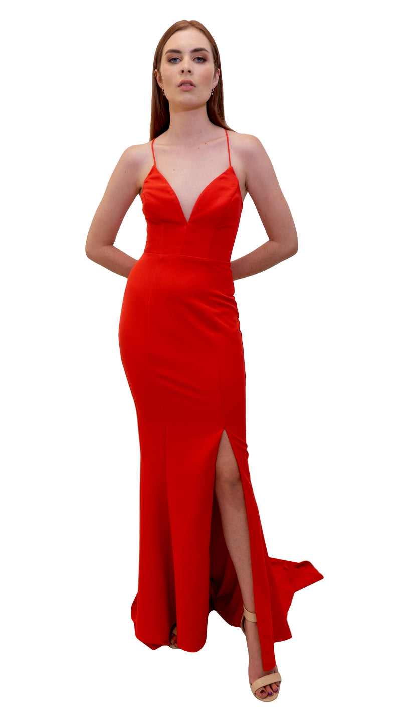 Bariano Juliette Low Cut Split dress Red