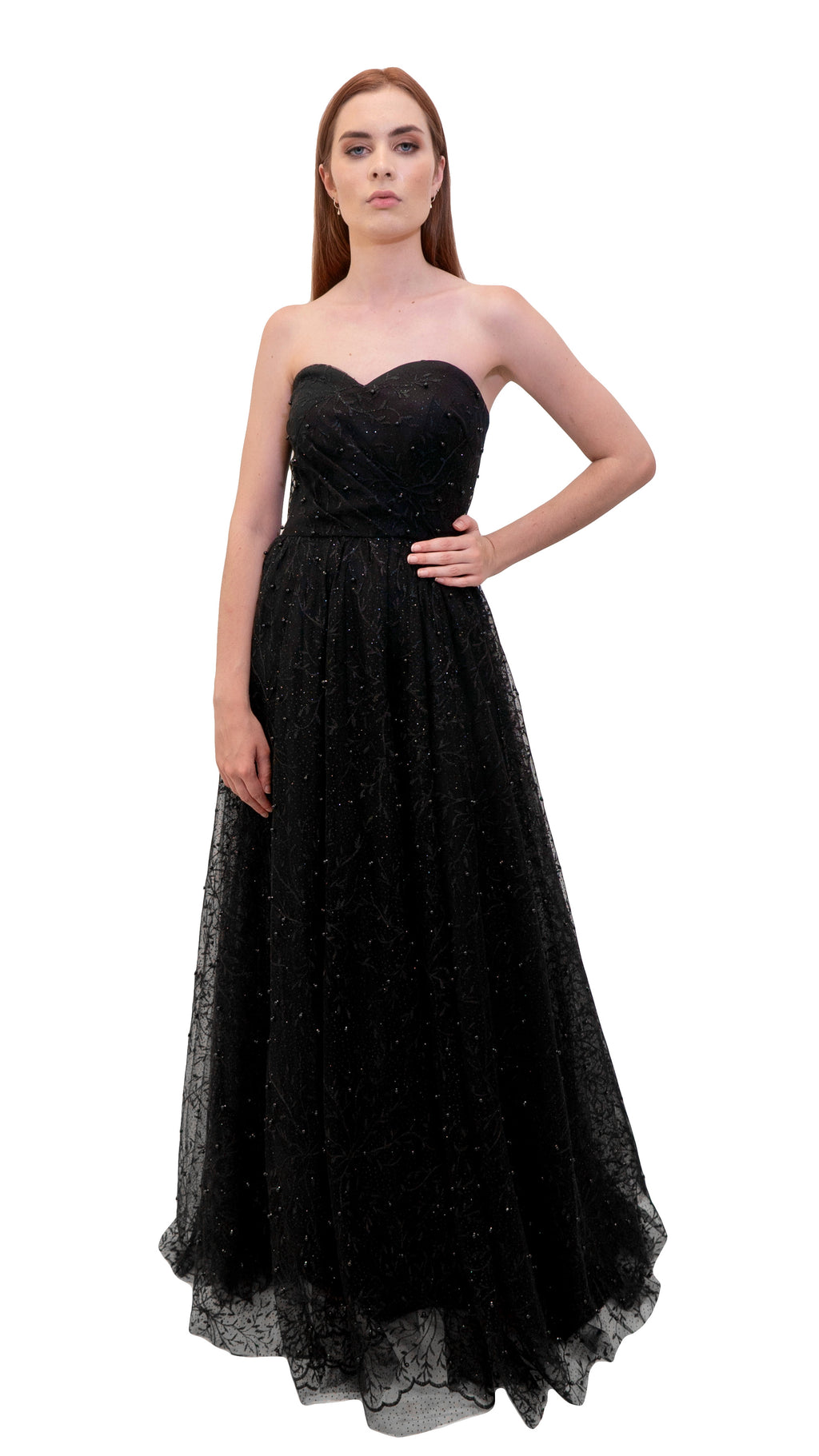 Bariano Lauryn Sweetheart Glitter pearl Ball Gown Black