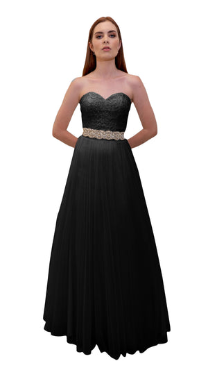 Bariano Mary Lace ball Gown Black