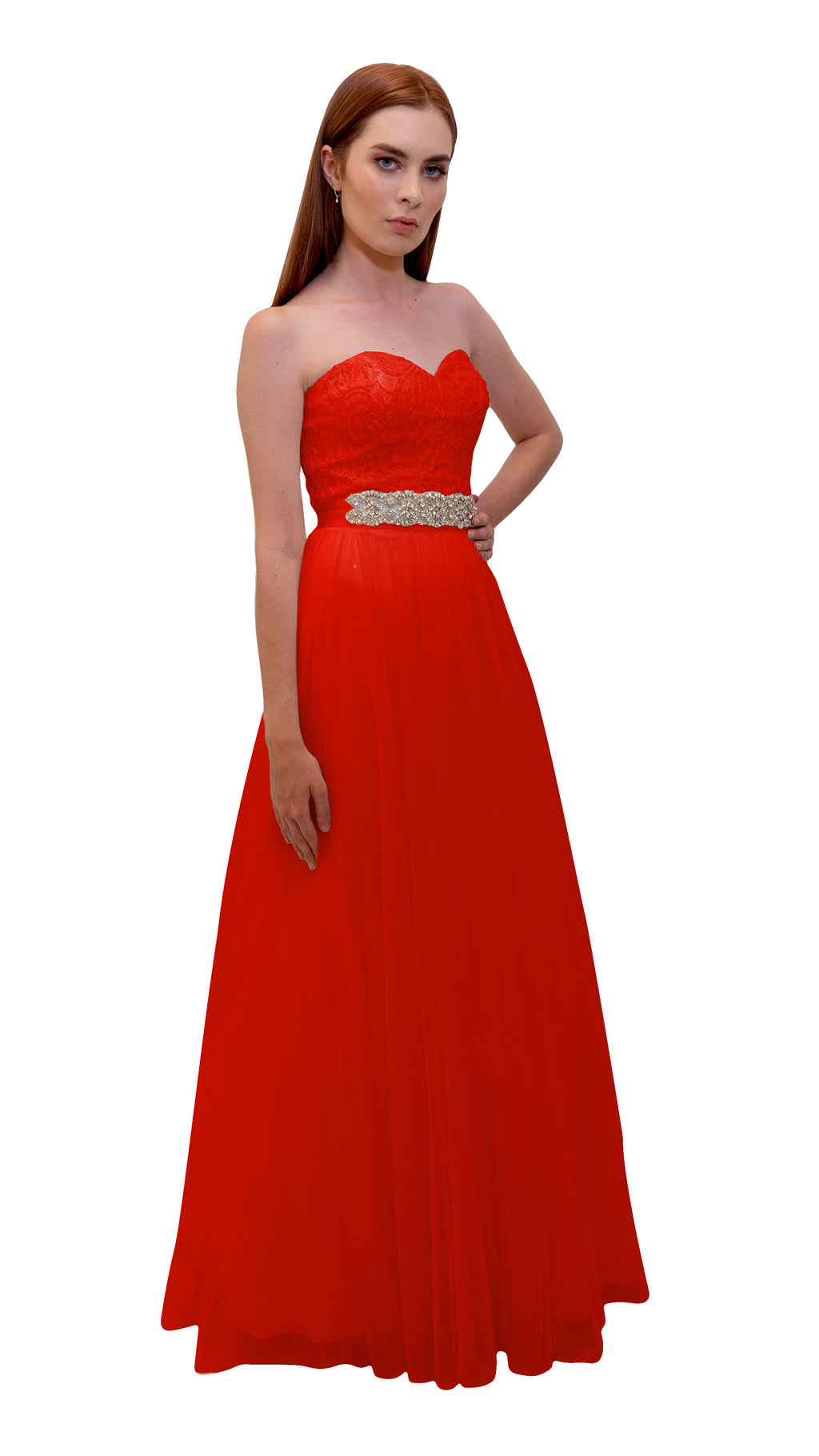 Bariano Mary Lace ball Gown Red