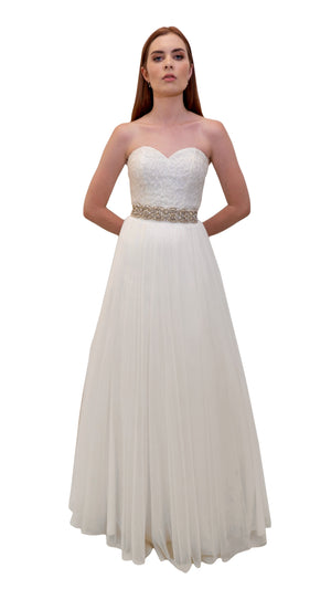 Bariano Mary Lace bridal gown with detachable skirt white