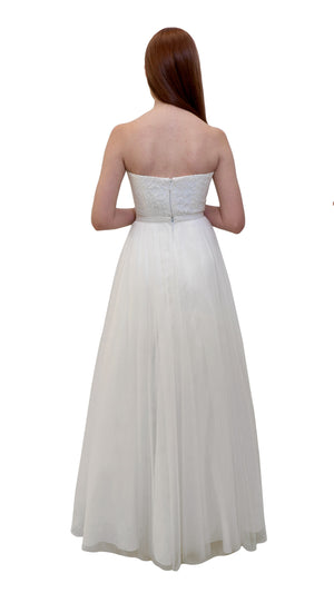 Bariano Mary Lace bridal gown with detachable skirt white back