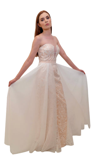 Bariano Medusa Lace Bridal gown with detachable skirt