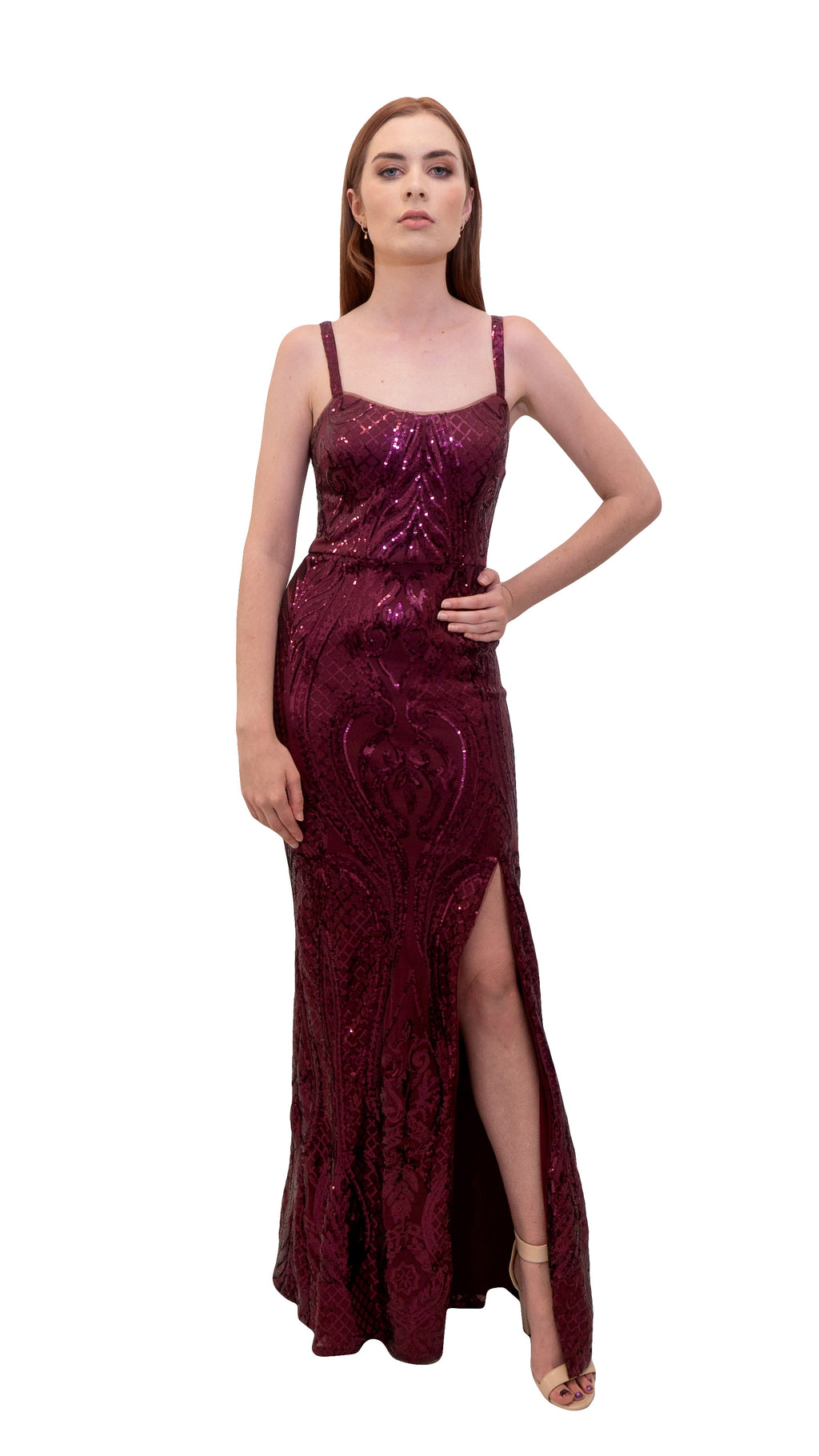 Bariano Miranda Scoop Neck Pattern Sequin dress Wine