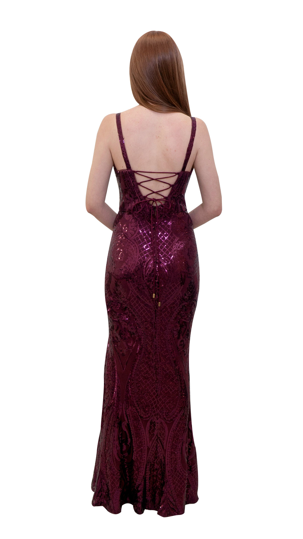 Bariano Miranda Scoop Neck Pattern Sequin dress Wine back