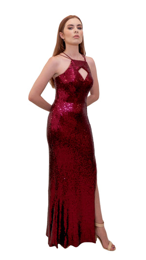 Bariano Nikki Diamond Cut out Sequin Dress Berry