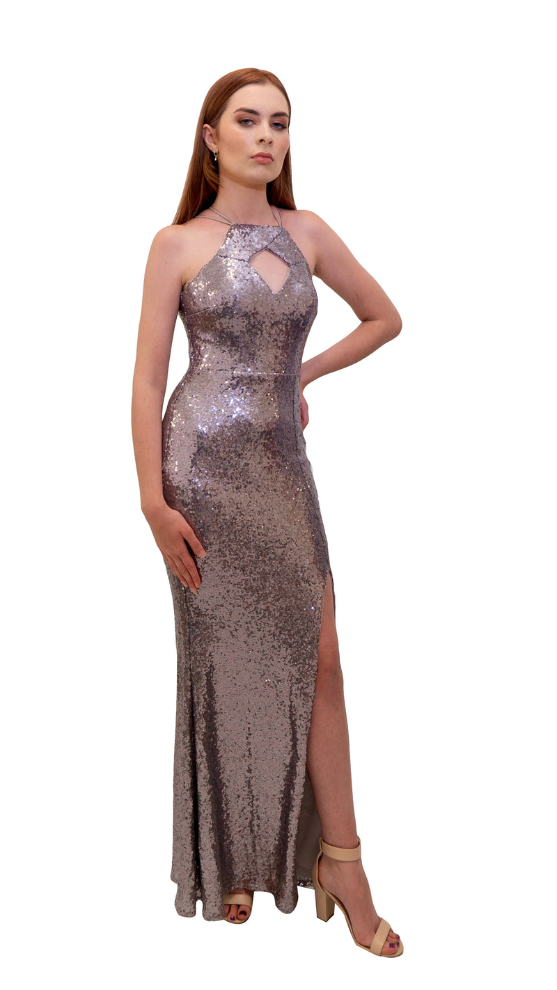 Bariano Nikki Diamond Cut out Sequin Dress Berry back