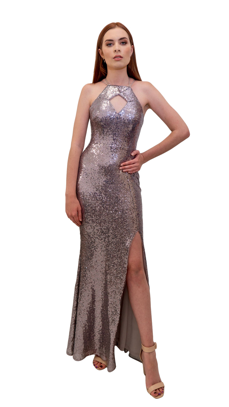 Bariano Nikki Diamond Cut out Sequin Dress Silver