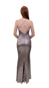 Bariano Nikki Diamond Cut out Sequin Dress Silver back