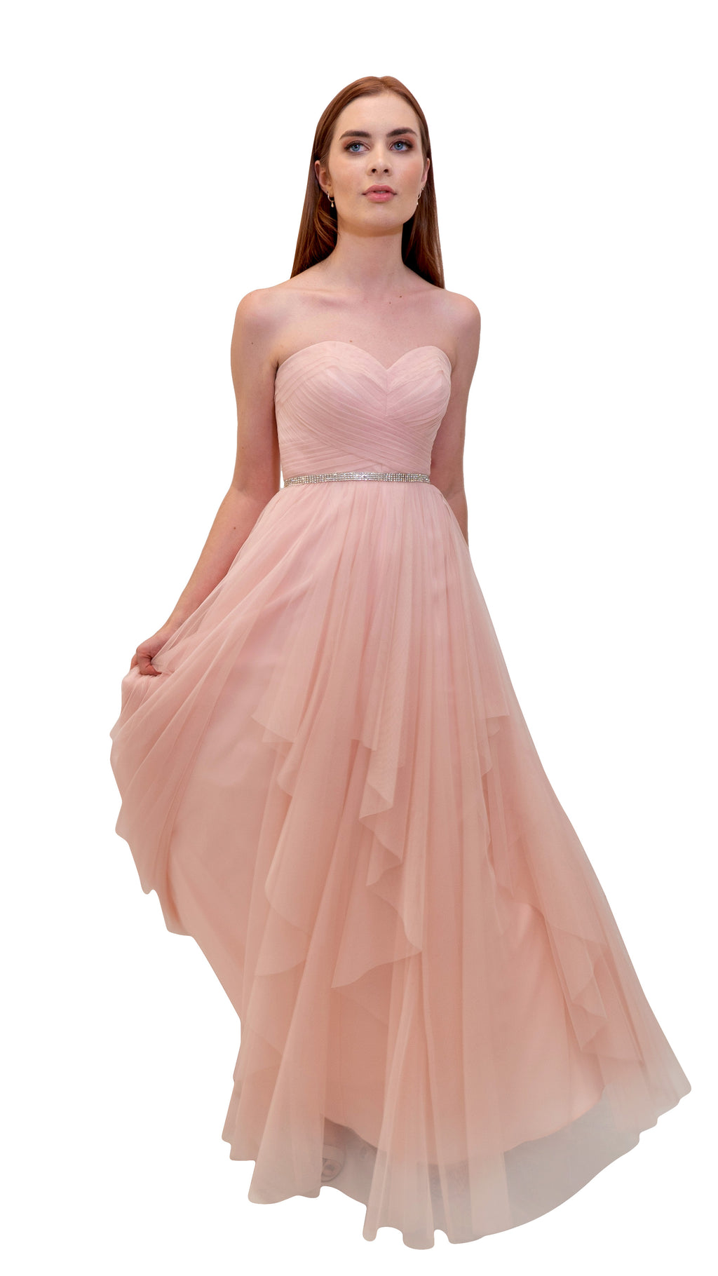 Bariano Petranzia Tulle Ball Gown Blush