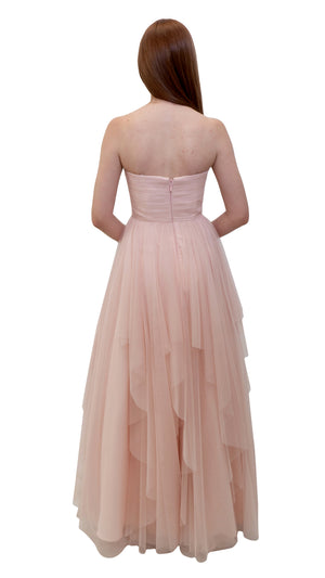 Bariano Petranzia Tulle Ball Gown Blush back