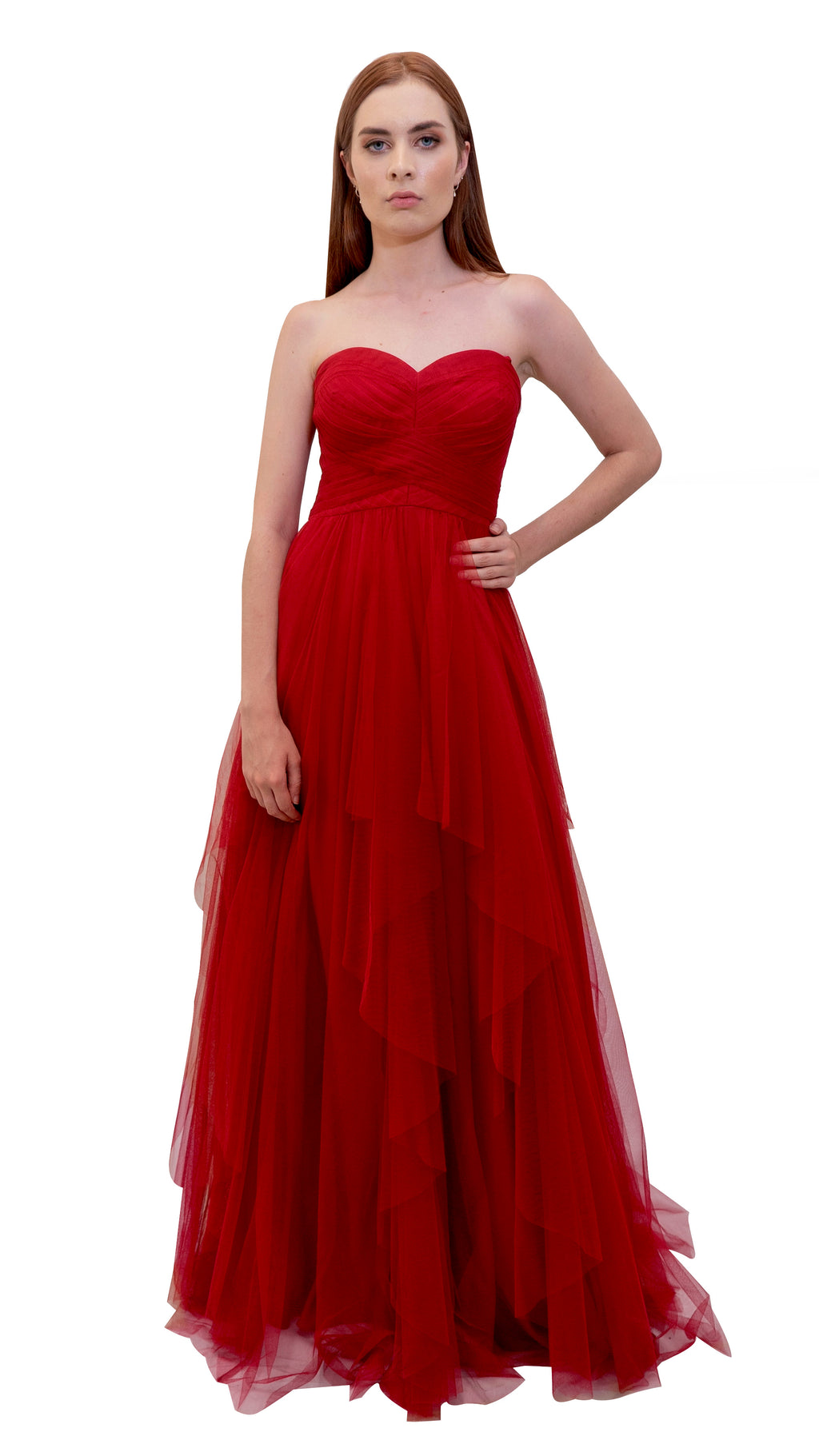 Bariano Petranzia Tulle Ball Gown Dark Cherry