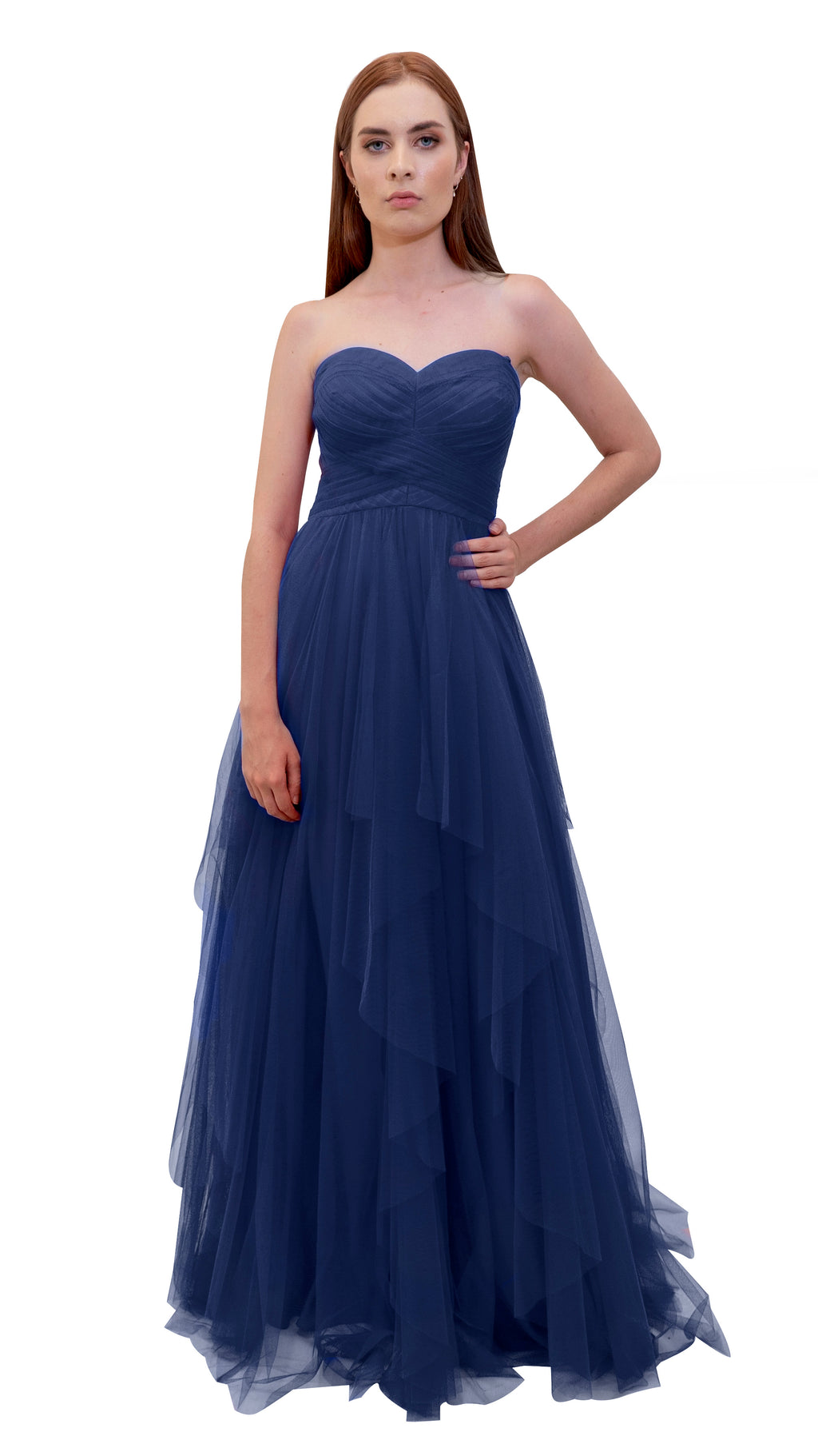 Bariano Petranzia Tulle Ball Gown Navy