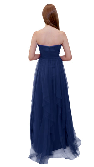 Bariano Petranzia Tulle Ball Gown Navy back