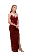 Bariano Primrose V Neck Sequin gown Deep Red