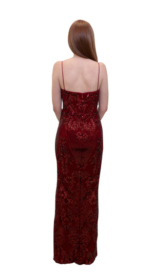 Bariano Primrose V Neck Sequin gown Deep Red back