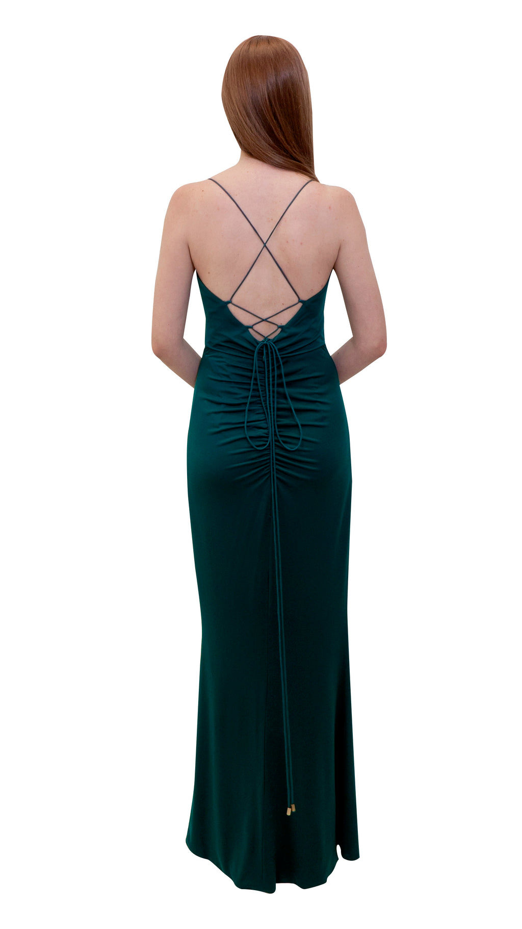 Bariano Rose Wrap Draped dress Emerald back