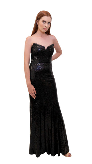 Bariano Saffron Sequin Fishtail Dress Black