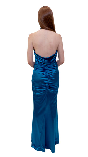 Bariano Sarah Liquid Drape dress Teal back