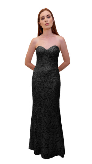 Bariano Strapless Lace Dress Black
