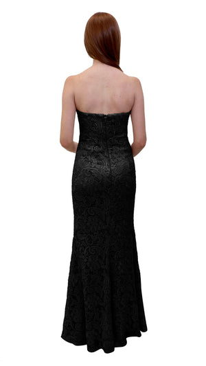 Bariano Strapless Lace Dress Black back