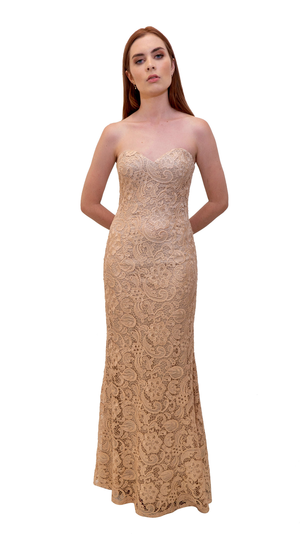 Bariano Strapless Lace Dress Metallic Blush