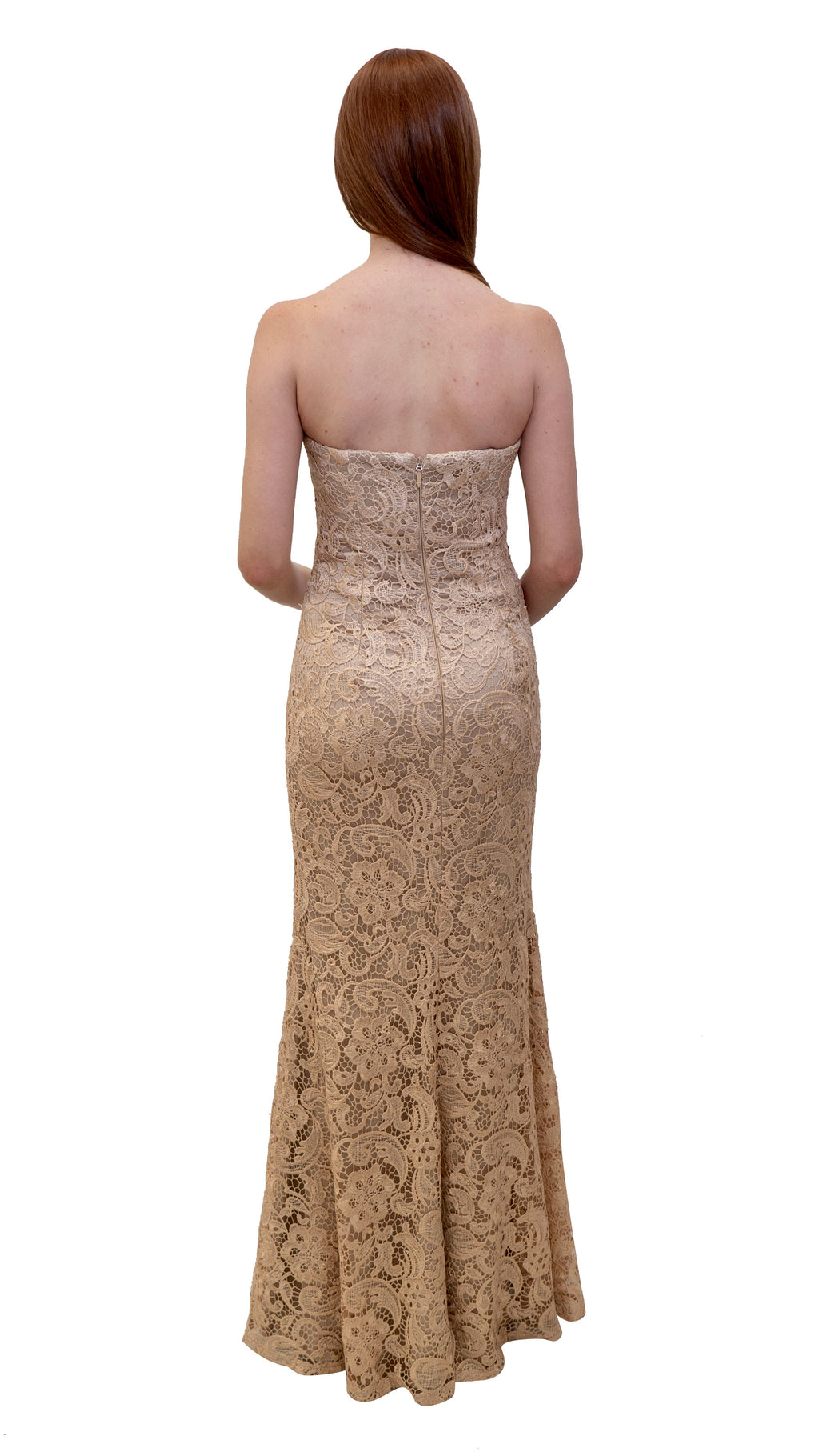 Bariano Strapless Lace Dress Metallic Blush back
