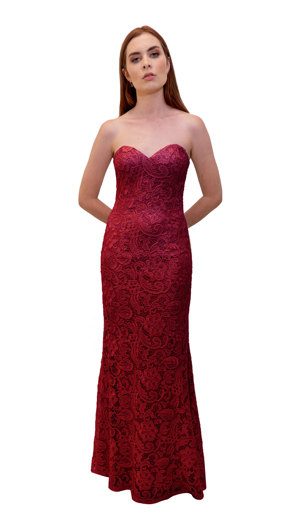 Bariano Strapless Lace Dress Dark Cherry