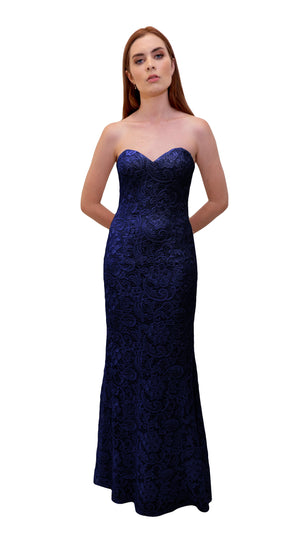 Bariano Strapless Lace Dress Midnight Navy