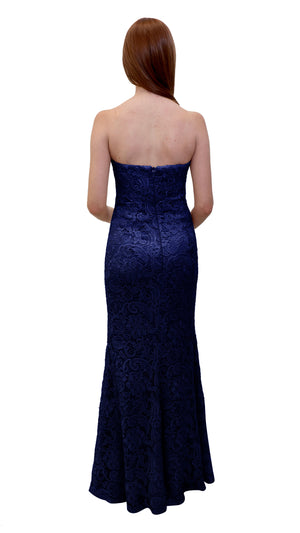 Bariano Strapless Lace Dress Midnight Navy back