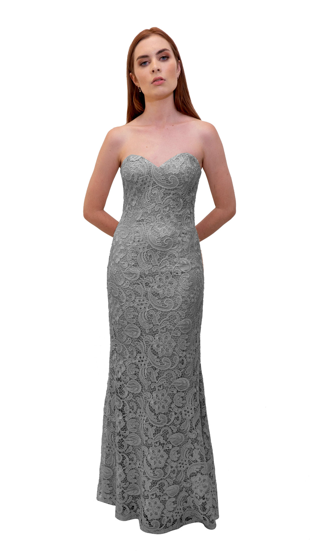 Bariano Strapless Lace Dress Silver