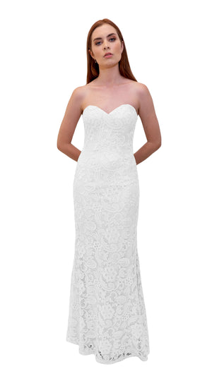 Bariano Strapless Lace Dress White