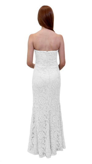 Bariano Strapless Lace Dress White back