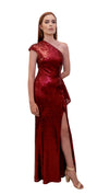 Bariano Yasmin Asymmetric sequin dress Red