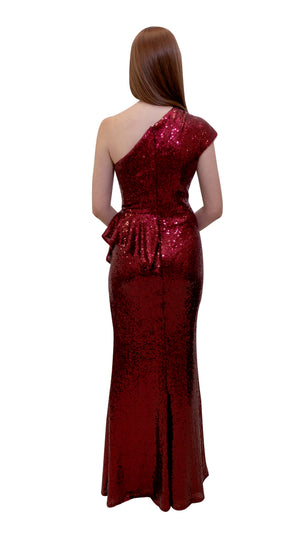 Bariano Yasmin Asymmetric sequin dress Red back