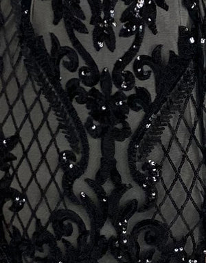 Bariano Black with Nude pattern sequin fabric
