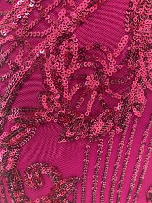 Bariano Flamingo Pink sequin fabric