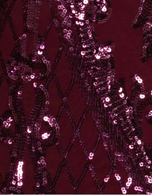 Bariano Grace Sequin Fabric Wine