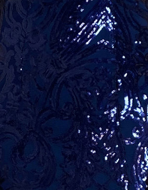 Bariano Pattern Sequin Fabric Navy
