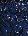Navy with Navy Pattern Sequin Fabric