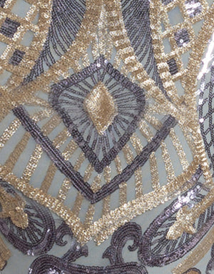 Purple Ash and Gold Pattern Sequin Fabric