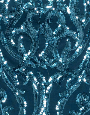Bariano Serpentine petrol blue sequin fabric