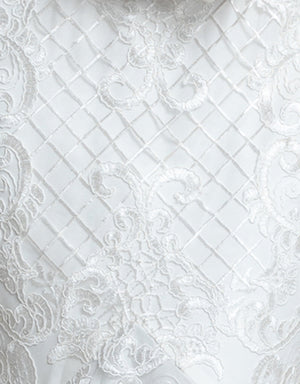 White Corded Lace Fabric