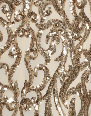 Bariano Serpentine pale gold sequin fabric