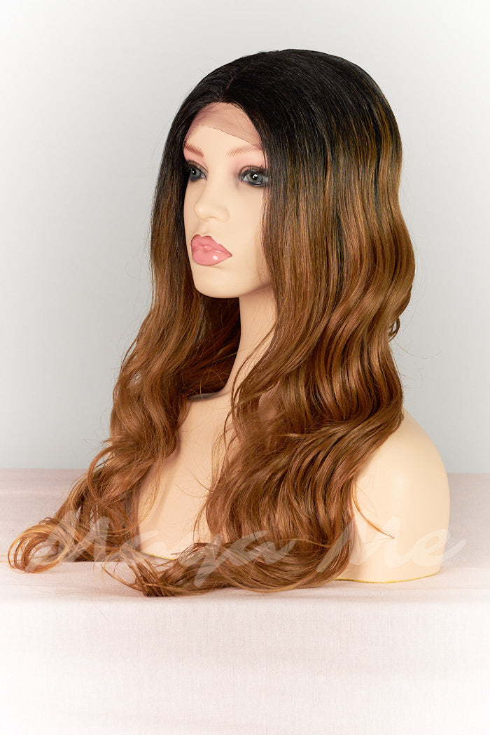 perruque semi naturelle front lace wig ondulee