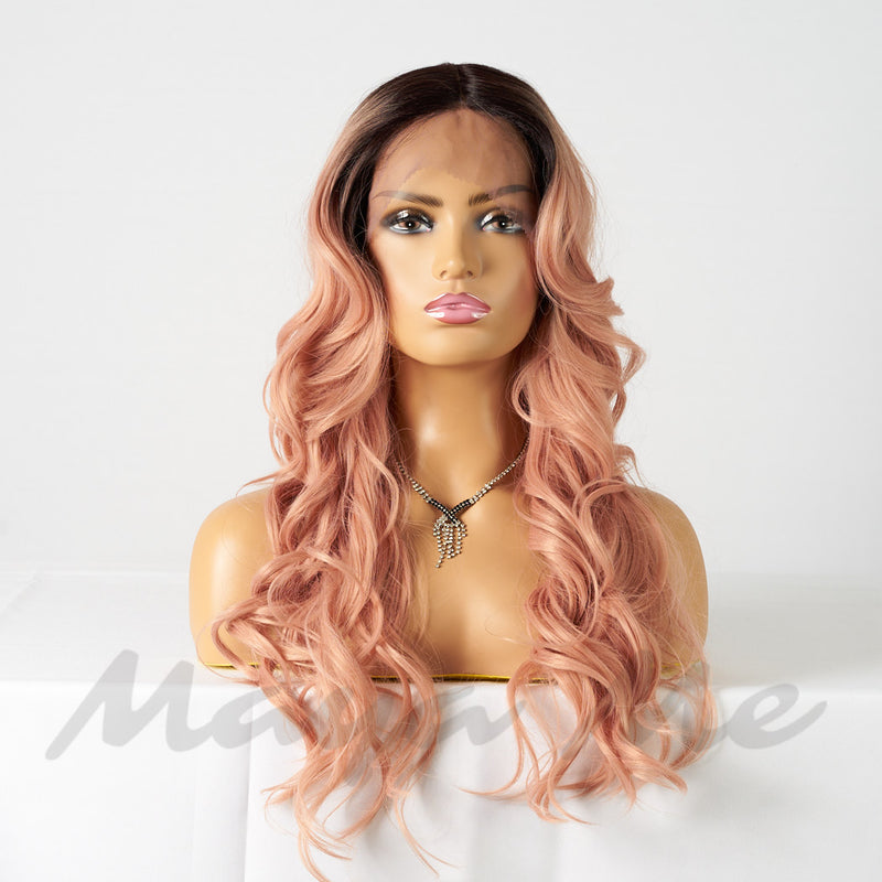 front lace wig ondulée pink rose