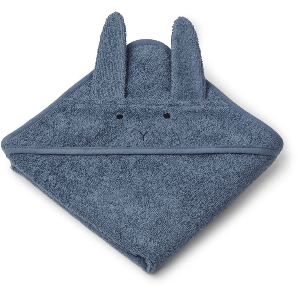 Liewood Albert Hooded Towel Kapuzenbadetuch Rabbit blue wave