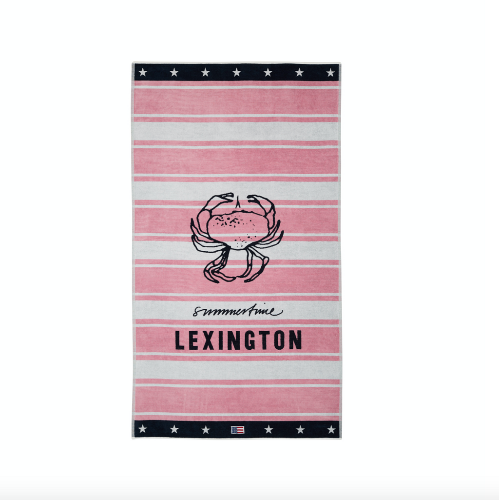 Lexington Strand Badetuch / Beach Towel Velours, pink-weiss