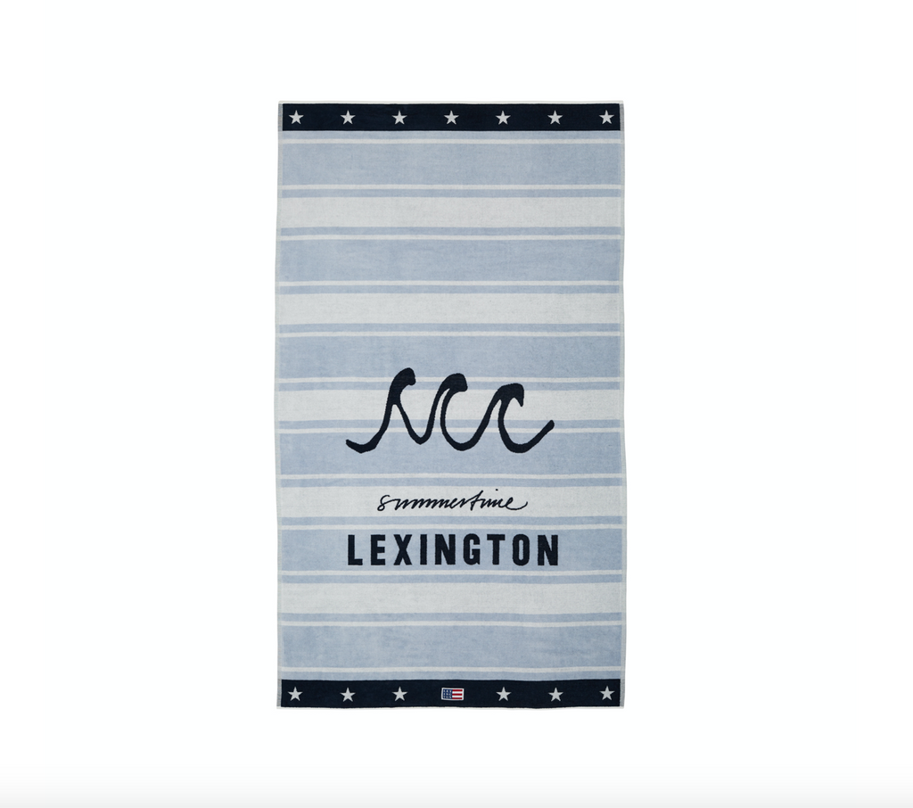 Lexington Strand Badetuch / Beach Towel Velours, light blue-weiss