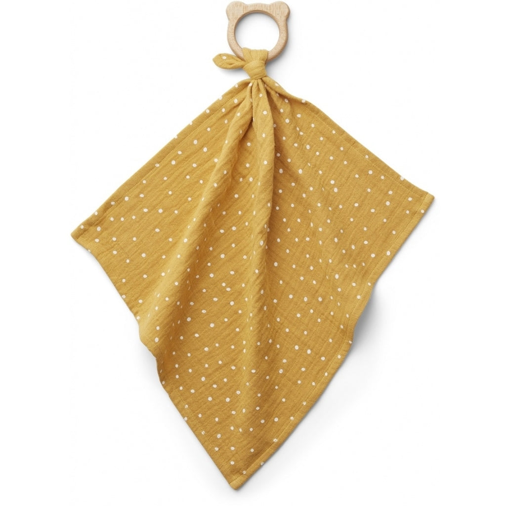 Liewood Dines Teether Cuddle Cloth, Mulltuch mit Beissring Confetti Yellow mellow